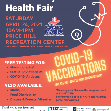 Health Fair – April 24, 2021, 10 a.m. to 1 p.m.