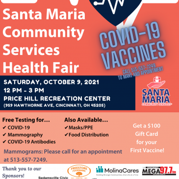 Santa Maria's FREE Health Fair, October 9, 2021 from 12 to 3 p.m. at the Price Hill Recreation Center